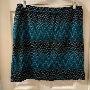 Sharagano Blue/Grey Chevron Print Soft knit Skirt